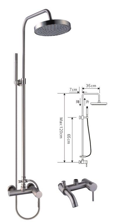 Shower Mixer Set with showerpipe and rain showerhead
