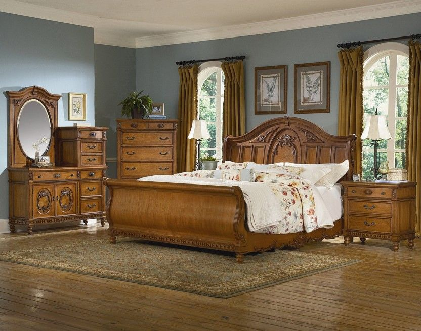 Kathy Ireland Home By Vaughan Southern Heritage Sleigh Bed In Chestnut