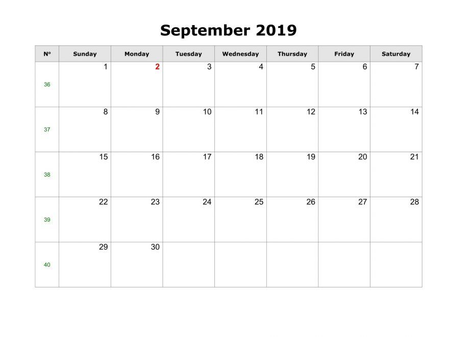 Printable September 2019 Calendar Page 2019 Monthly Calendars