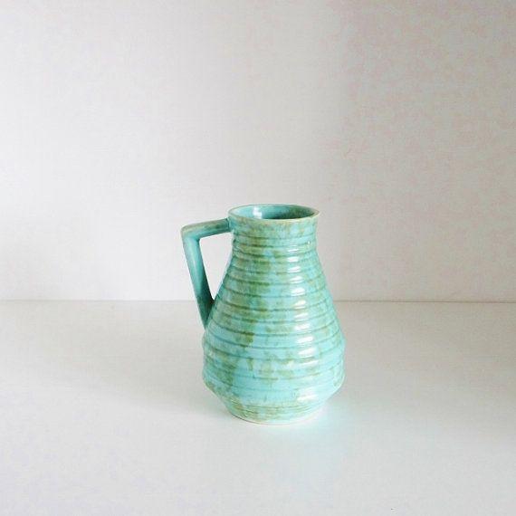Vintage Art Deco Vase Pitcher Jug Marbled Turquoise Glaze Made In