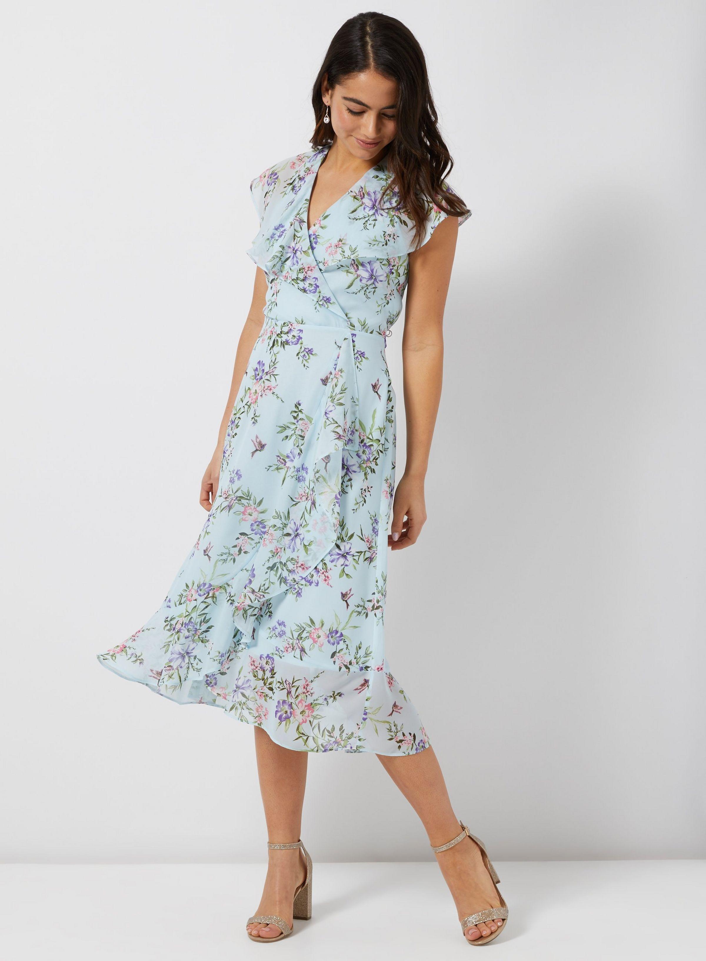 754ec9d5a47 **Billie & Blossom Petite Blue Floral Print Midi Skater Dress | Dorothy  Perkins