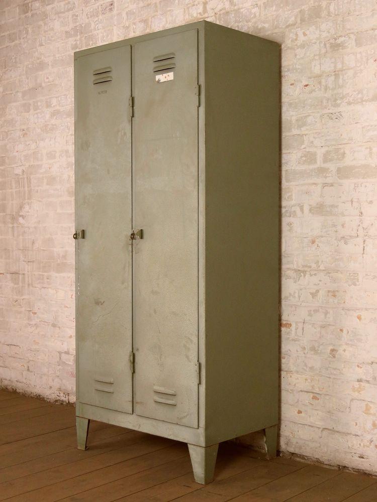 alter Fabrik Metallschrank Wardrobe Spind Vintage Industrie Design ...