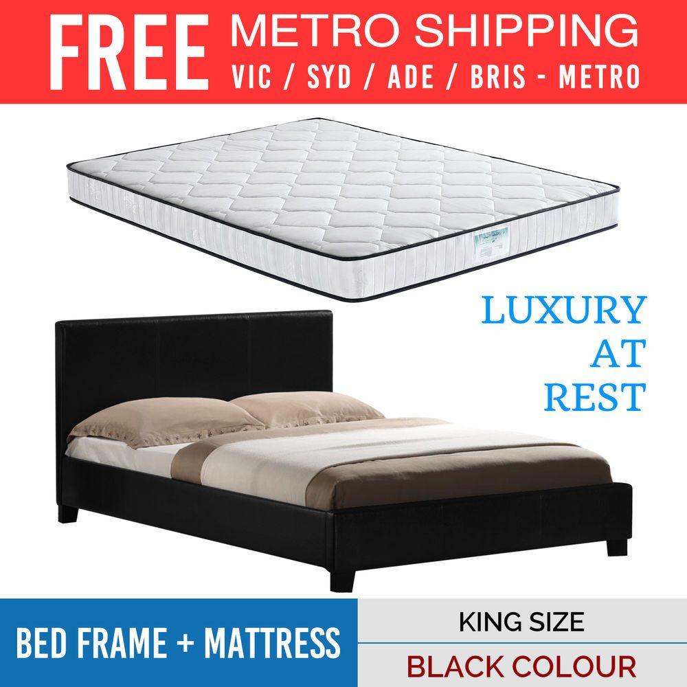 Bed Frame Pocket Spring Sleep System Mattress Combo King Size