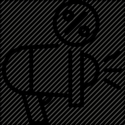 Discount Marketing Megaphone Percentage Sale Icon Download On Iconfinder Icon Marketing Line Icon