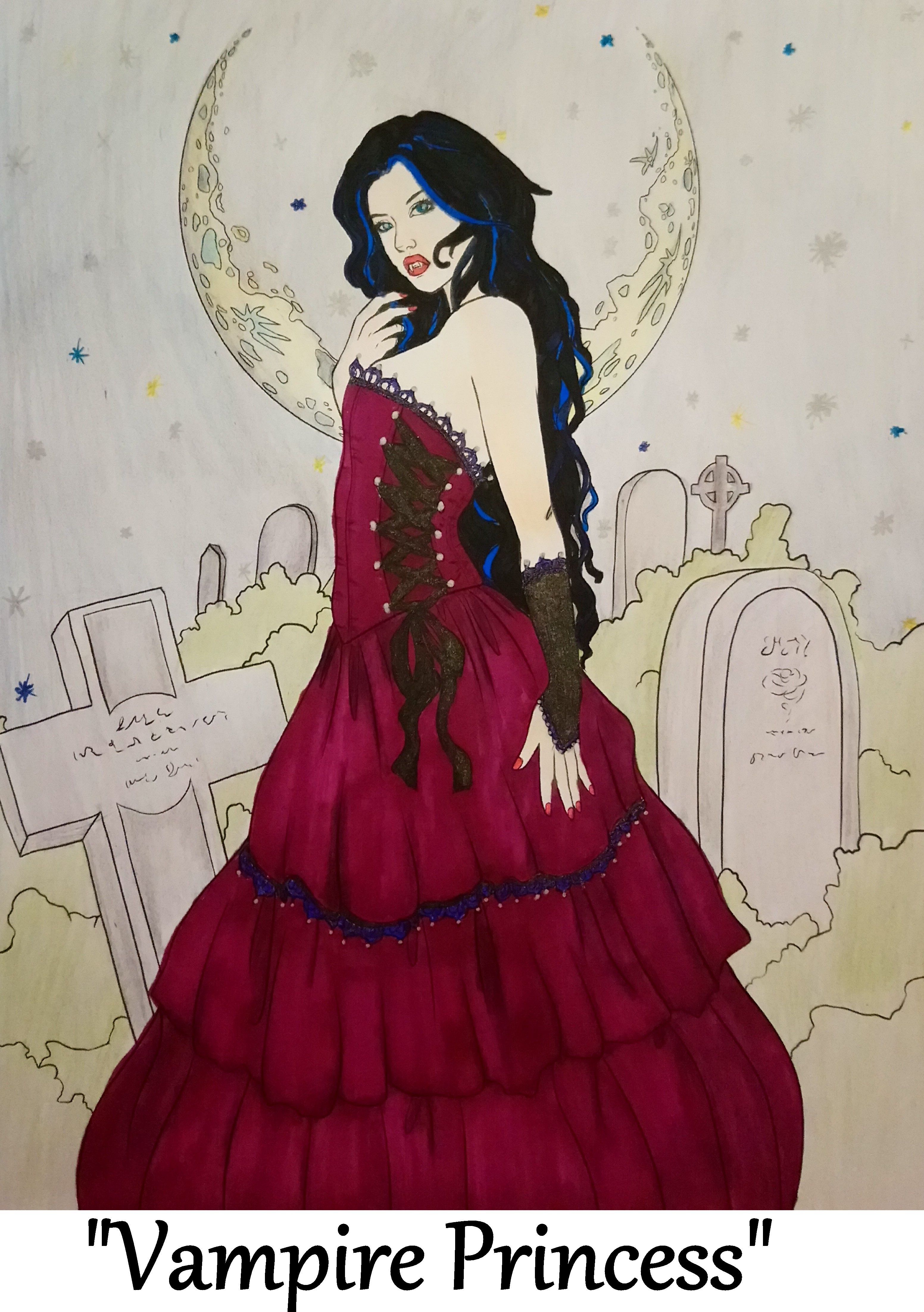 Vampire Princess From Night Magic Gothic And Halloween Coloring Book By Selina Fenech Halloween Coloring Book Coloring Books Halloween Coloring