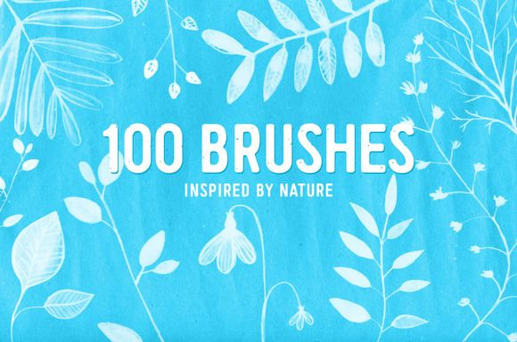 100 PS nature brushes by anna.kutukova on Creative Market