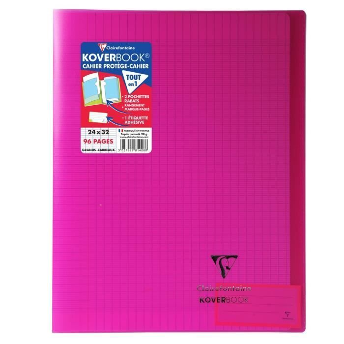 CLAIREFONTAINE – Carnet de notes KOVERBOOK – 24 x 32 – 96 pages Seyès – Couverture polypro translucide – Rose   – Products