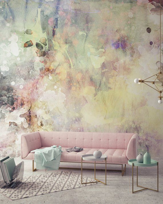 Photo of Delicate Watercolor – Adhesive Wallpaper – Removable Wallpaper – Wall Sticker – Wall Mural – Customizable Wallpaper – Pink Yellow Beige