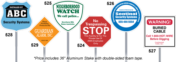 Security Yard Signs And Security Company Signs Security Systems