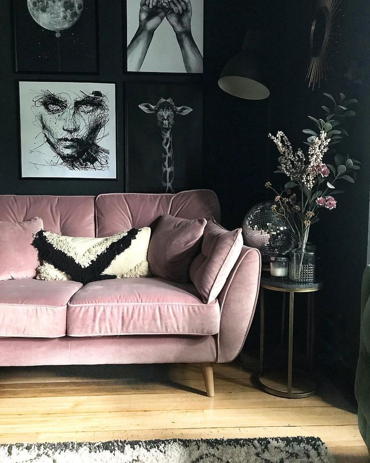Get inspiration on how to use this gorgeous color in your home. Pink Sofa | Dark interior design, Dark living rooms ...