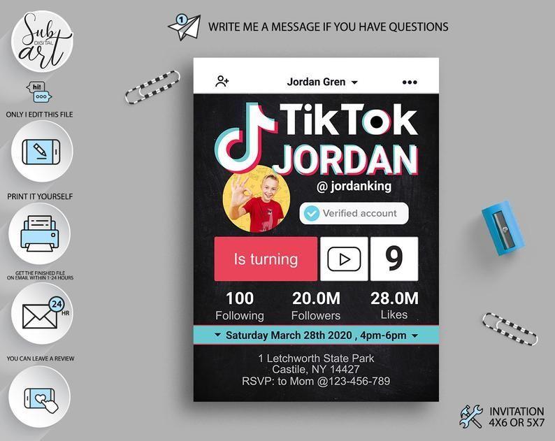 Digital Birthday Invitation Tik Tok Invitation With Photo Tik Tok Party Invite Digit Girls Birthday Party Supplies Birthday Invitations Birthday Party Supplies