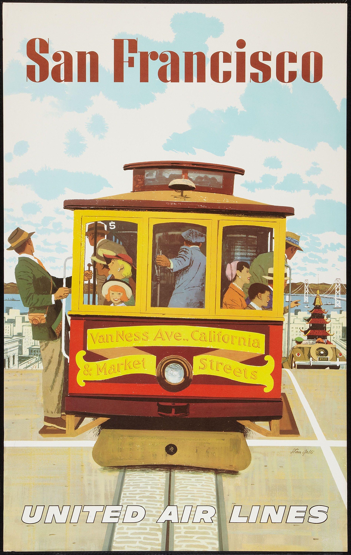 "Vintage Nostalgic Travel Vacation Poster /""San Francisco/"" United Air Lines"
