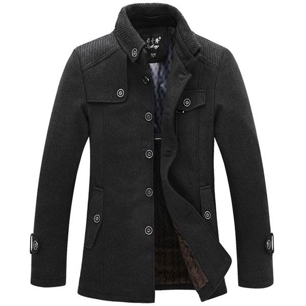 Mens Warm Fleece Jacket Coat Wool Jacket Plus Size S-XXL