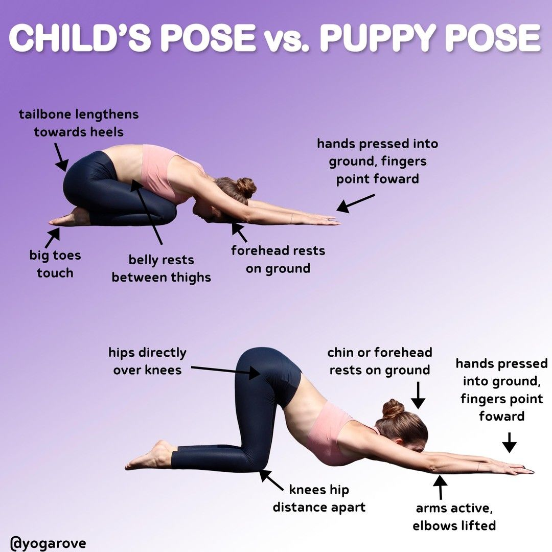 Child S Pose Vs Puppy Pose Follow Yogarove Follow Yogarove These Two Poses Can Looked Similar To Many But Puppy Pose Puppy Pose Yoga What Is Yoga