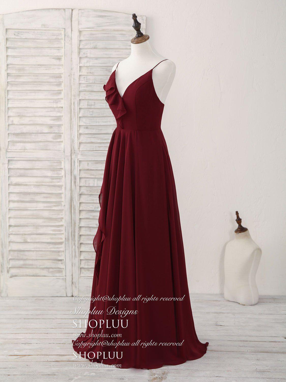Simple burgundy v neck chiffon long prom dress bridesmaid dress