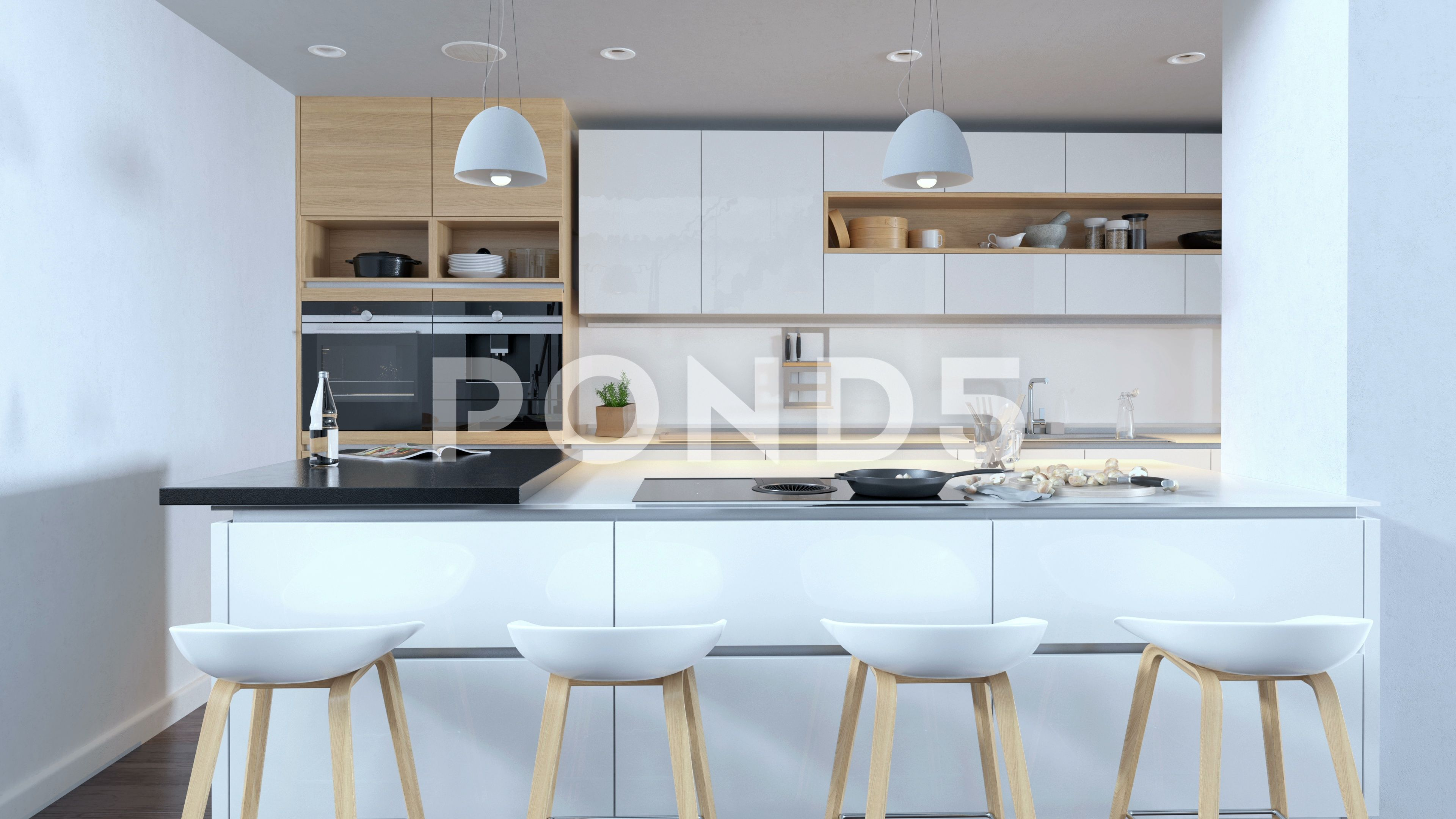 Kitchen with wooden and minimalistic interior design AD ...