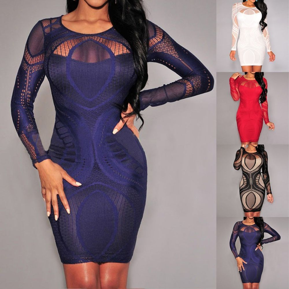 Women Bandage Bodycon Long Sleeve Evening Sexy Party Cocktail Mini ...