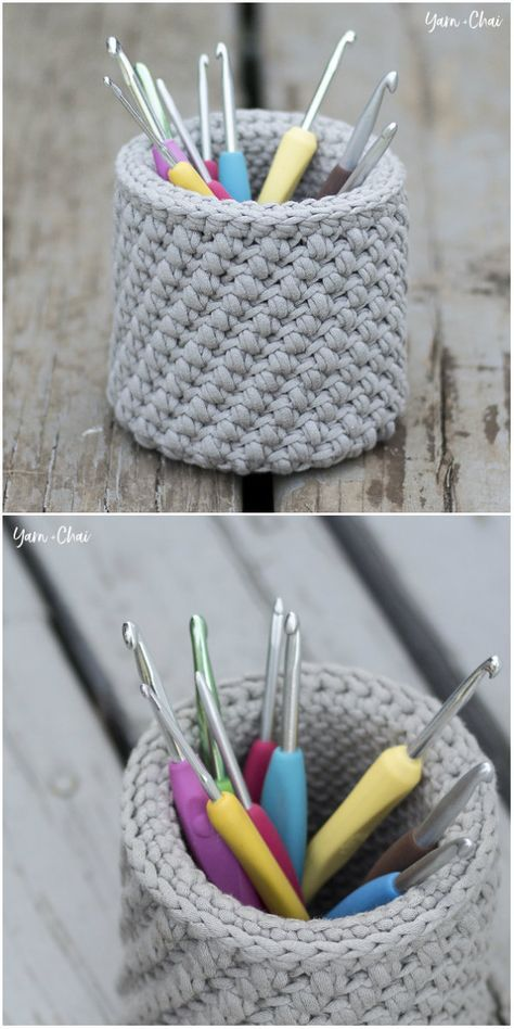 Hook & Needle Basket Free Crochet Pattern #crochethooks
