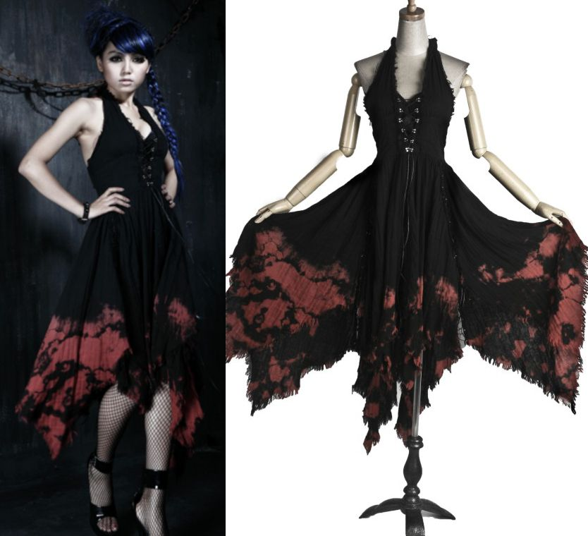 Http Www Pixieknix Black 26 Red Tie Dyed Gothic Summer Dress Pwdutnhbre14b0rkalziwnzksgm