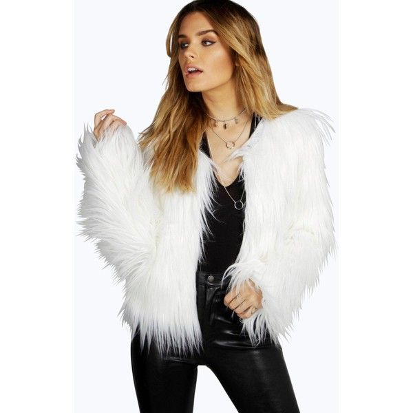 071de1ffd41 Boohoo Amy Faux Fur Crop Jacket ( 52) ❤ liked on Polyvore featuring  outerwear