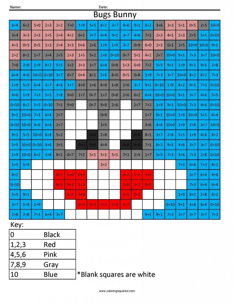 Cartoon Coloring Coloring Squared Math coloring, Pixel