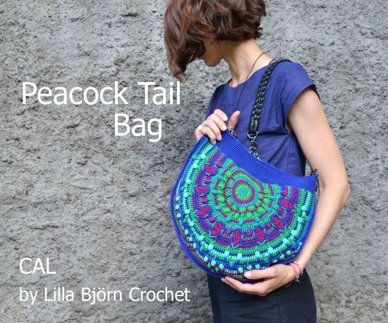La cola del pavo real Bolsa - CAL nueva GRATIS en crochet superposición…