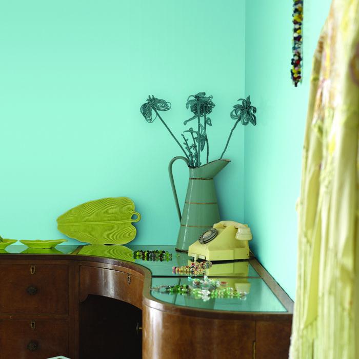 Casas pintadas de verde turquesa