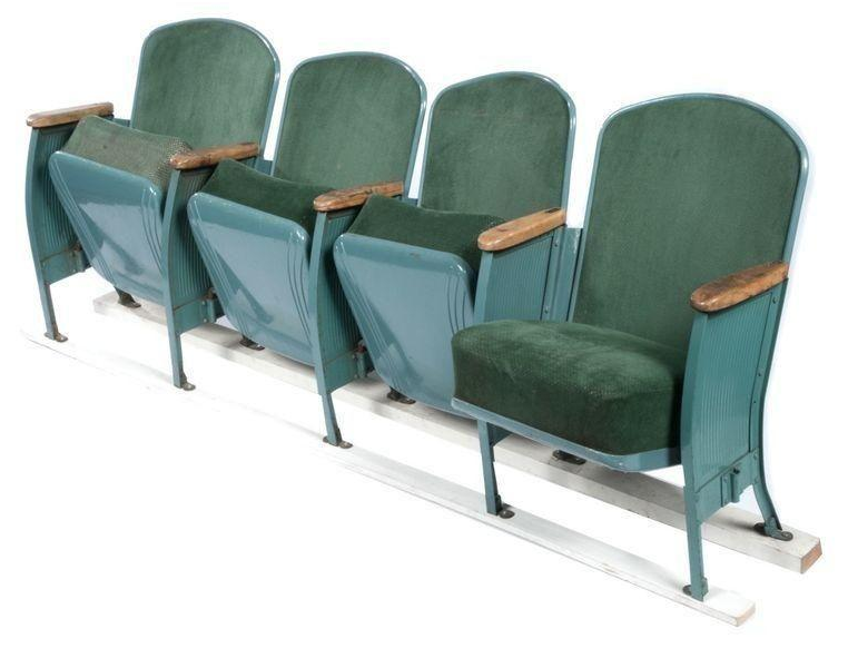 Vintage Velvet Theater Seats in Forest Green on Chairishcom