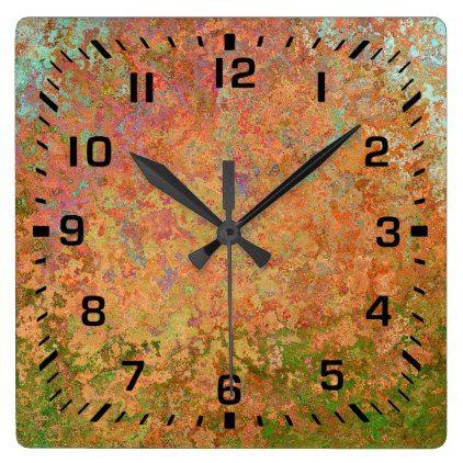 Rusty Sheet Square Wall Clock Zazzle Com Square Wall Clock Wall Clock Clock
