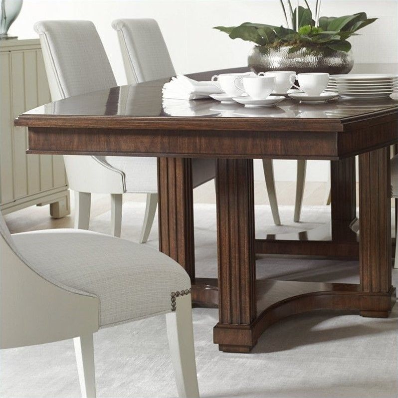 Crestairelola Double Pedestal Table In Porter  4361136 Best 36 Dining Room Table Design Inspiration