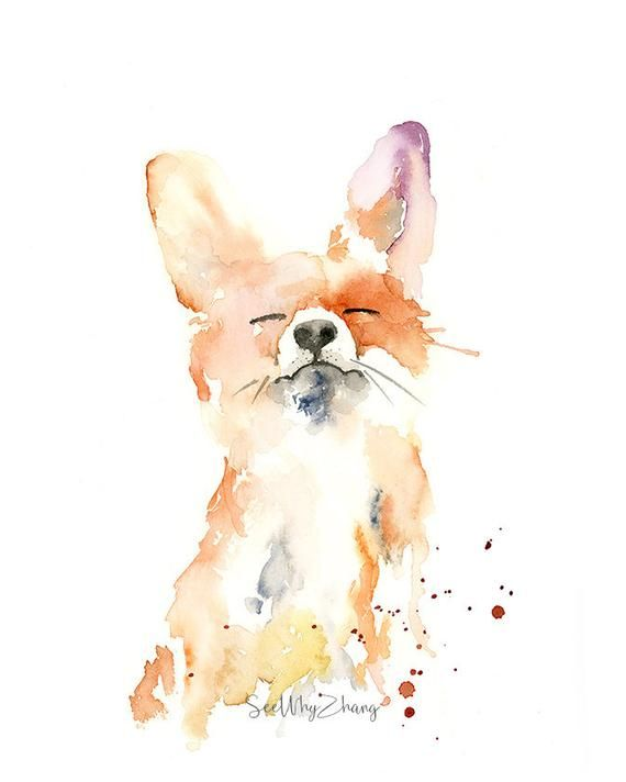 Proud Fox Watercolor Fine Art Print – modern wild animal art, watercolor fine art for fox lovers, playful fox watercolor painting