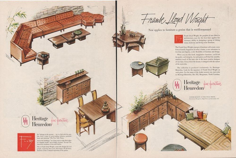 1956 Frank Lloyd Wright Heritage Henredon Furniture High Point North Carolina Ad Henredon Furniture Frank Lloyd Wright Taliesin Henredon