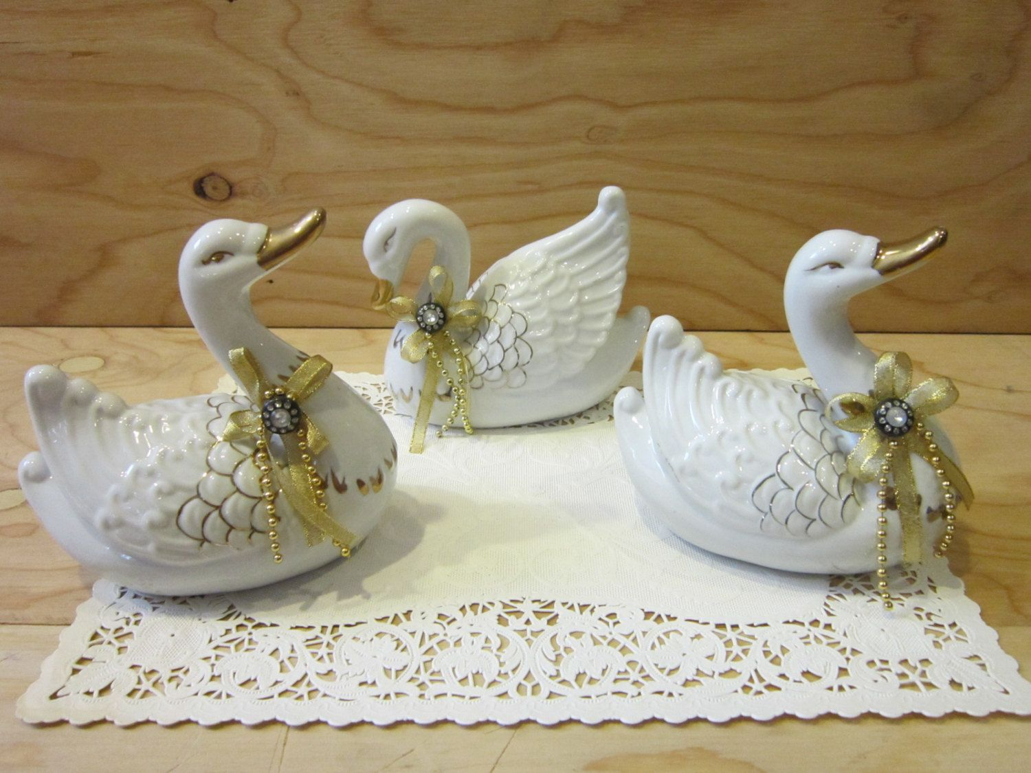 Set of Three Lovely Swan Figurines * Gold Trimmed Swan Figurines by RainbowConnection15 on Etsy