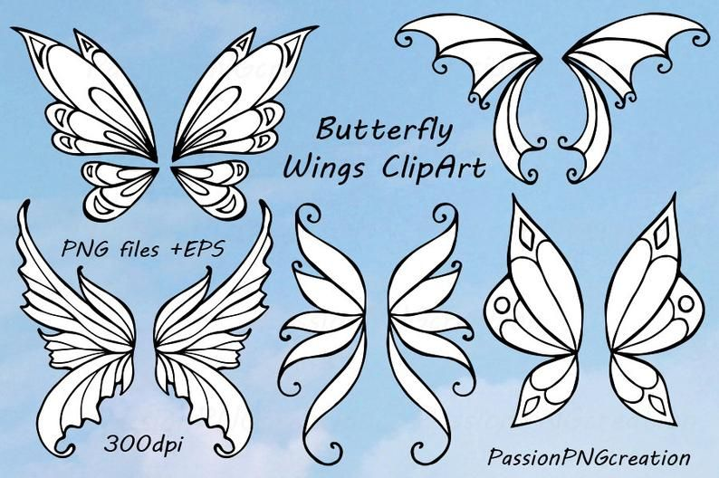 Doodle wings clip art Hand drawn butterfly wings EPS Photo props vector for Personal and Commercial Use Fairy Wings Clipart PNG AI