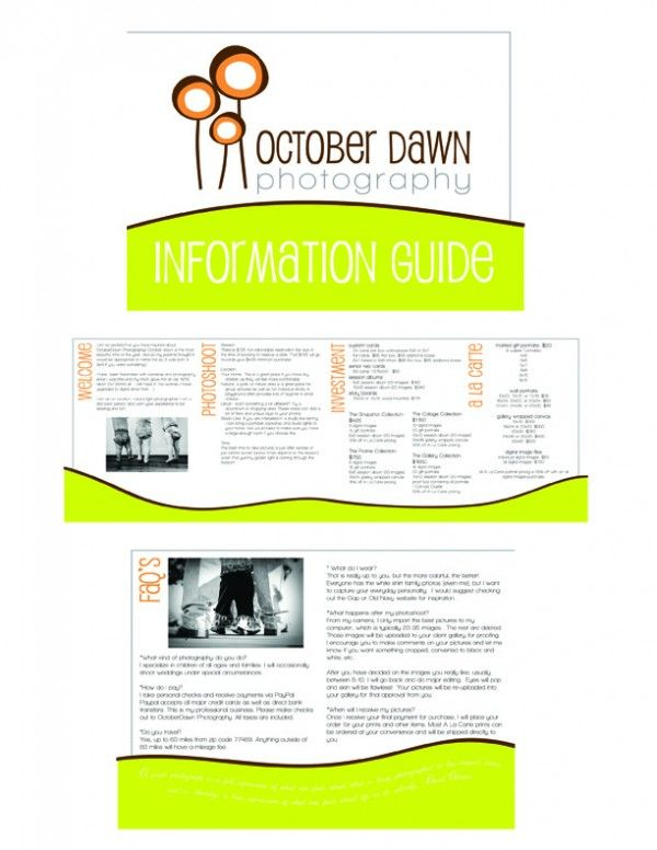 Free Information Guide Template for Photographers | Pinterest ...