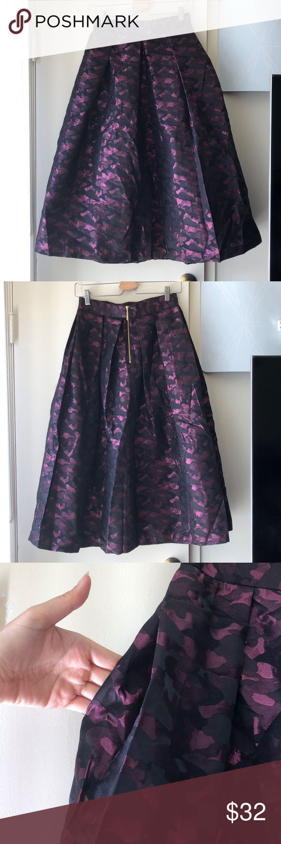 closet a line midi skirt violet metallic pattern clothes design midi skirt pleated midi skirt pinterest