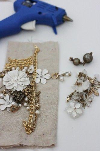 .sew broken jewelry onto burlap