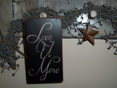 Primitive Wood Sign Handmade Country Rustic Wood Block Decor Sign LOVE YOU MORE