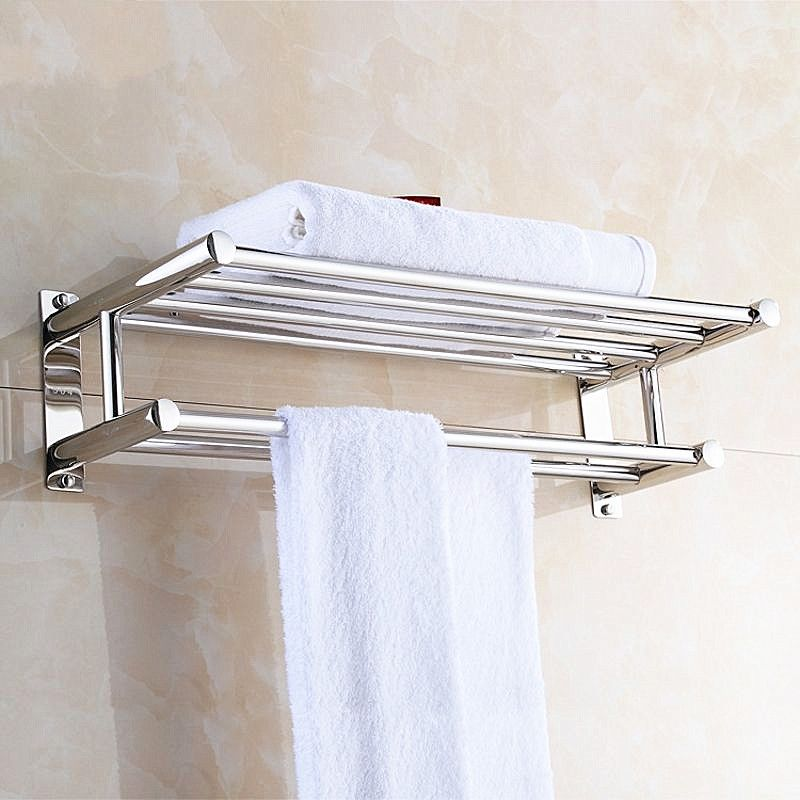 Stainless Steel Double Towel Rack Wall Mount Bathroom Shelf Bar Rail Hotel Style Walmart Com In 2020 Bath Towel Racks Diy Bathroom Decor Bathroom Towel Storage