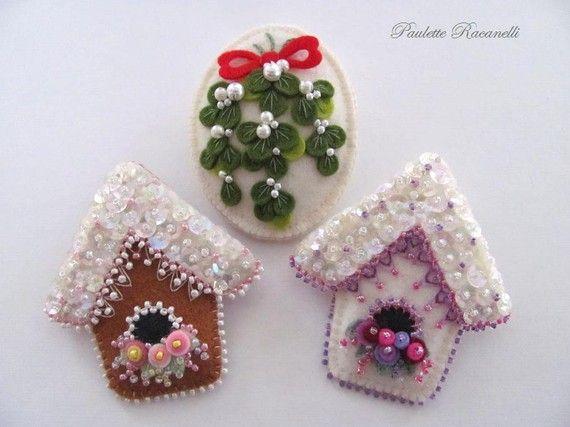 Felt Birdhouse Pins and Felt Mistletoe Pin / Reserved for dkjohnson2848