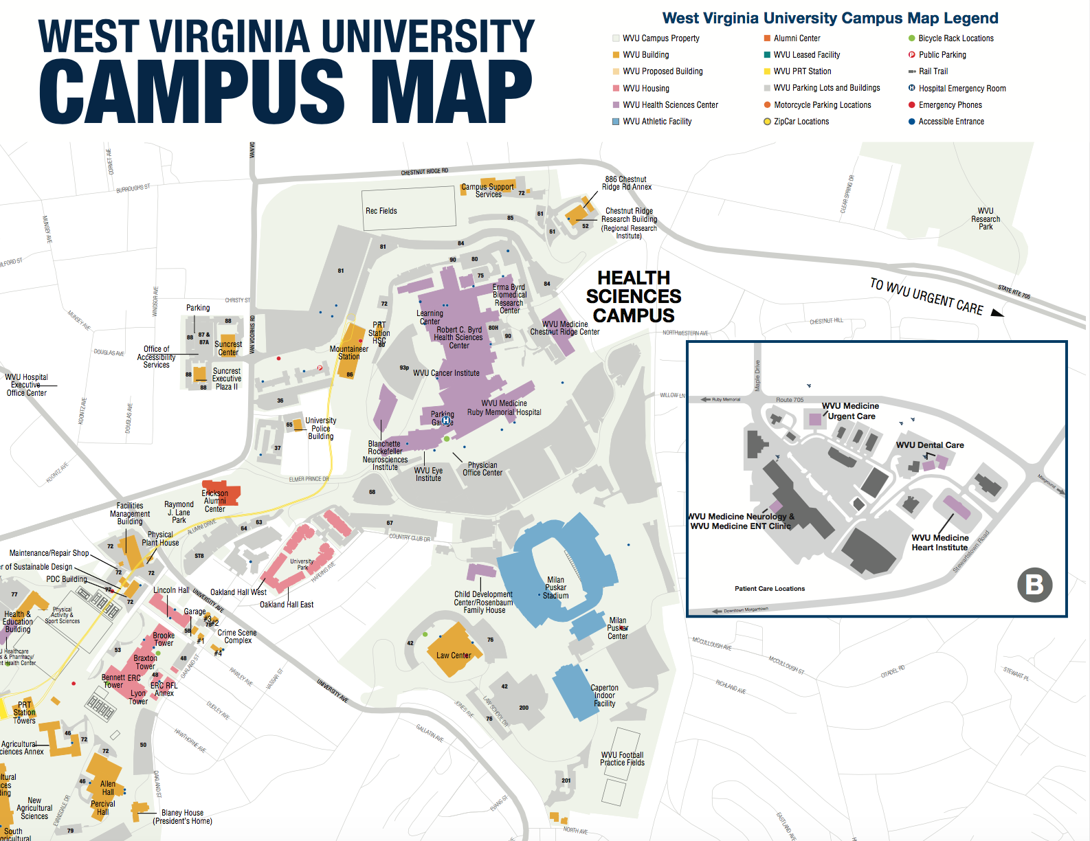 Downtown Campus Map Wvu.Grab A Health Sciences Campus Map To See One Of Our Three Campuses
