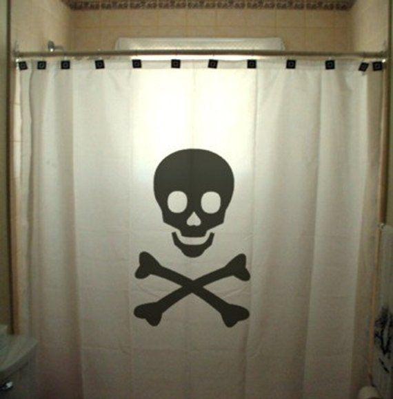 Skull Crossbones Shower Curtain Danger Sign Jolly Roger Pirates