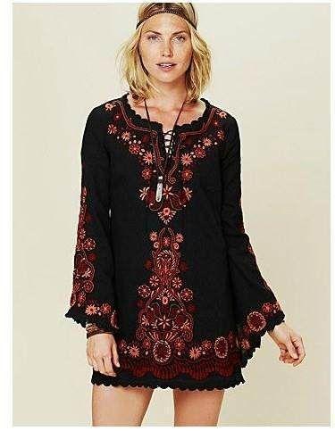 fa2068231d38 mini vestido bordado étnico bohemio hippie chic negro | Outfit ...