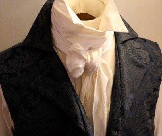 3259332c19d9 Extra LONG - REGENCY Brummel Victorian Ascot Tie Cravat - Pure White  Dupioni Silk