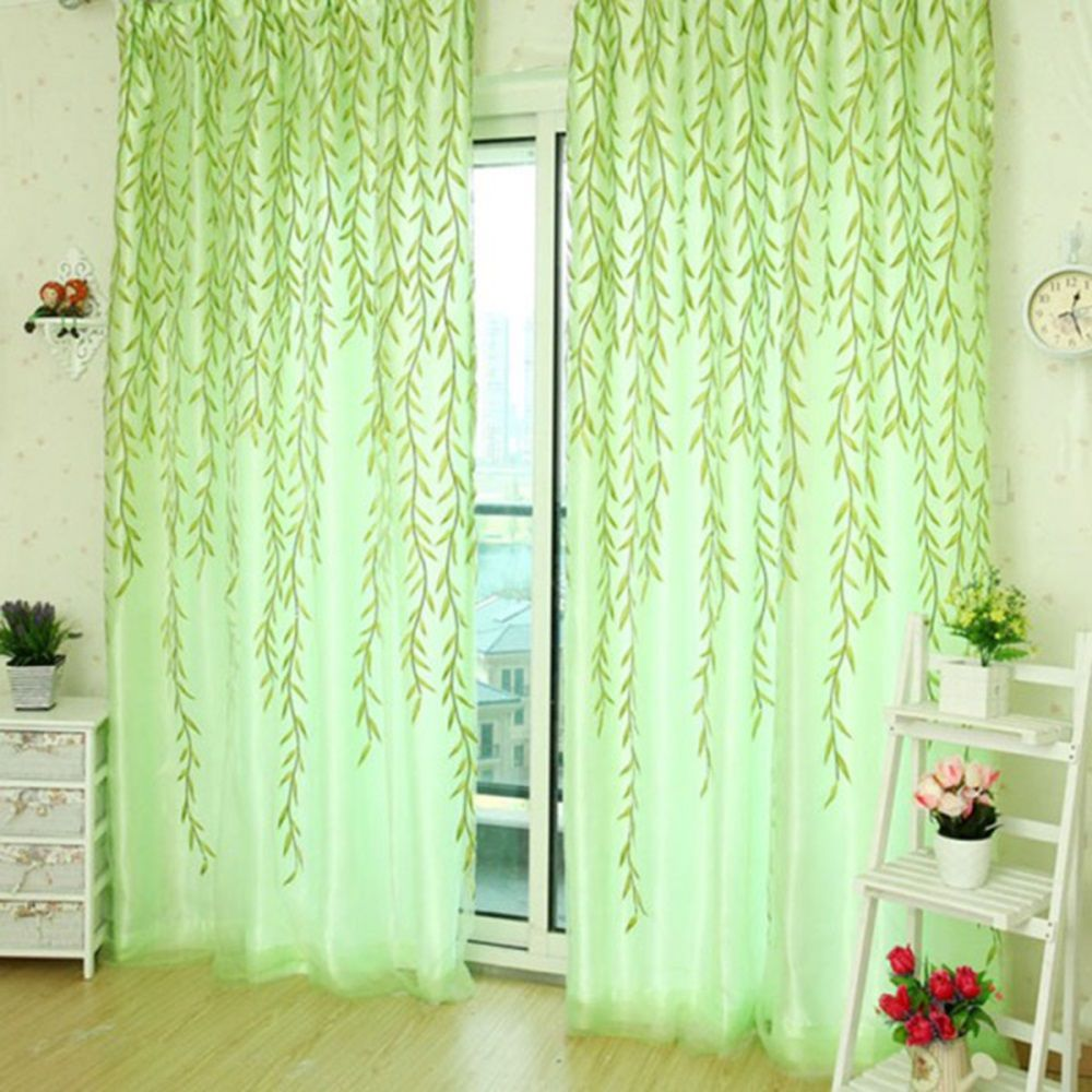 Offset Print Window Curtains Drapes Panels Sheer Voile Tulle Wicker Pattern Shade Curtain 1*2M - Green