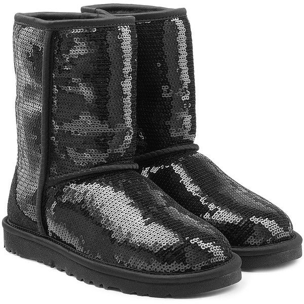 UGG Australia Sparkles Sequin Coated Suede Boots ($175) ❤ liked on Polyvore featuring shoes, boots, black, mid-calf boots, black suede boots, black boots, sparkle boots and black mid calf boots