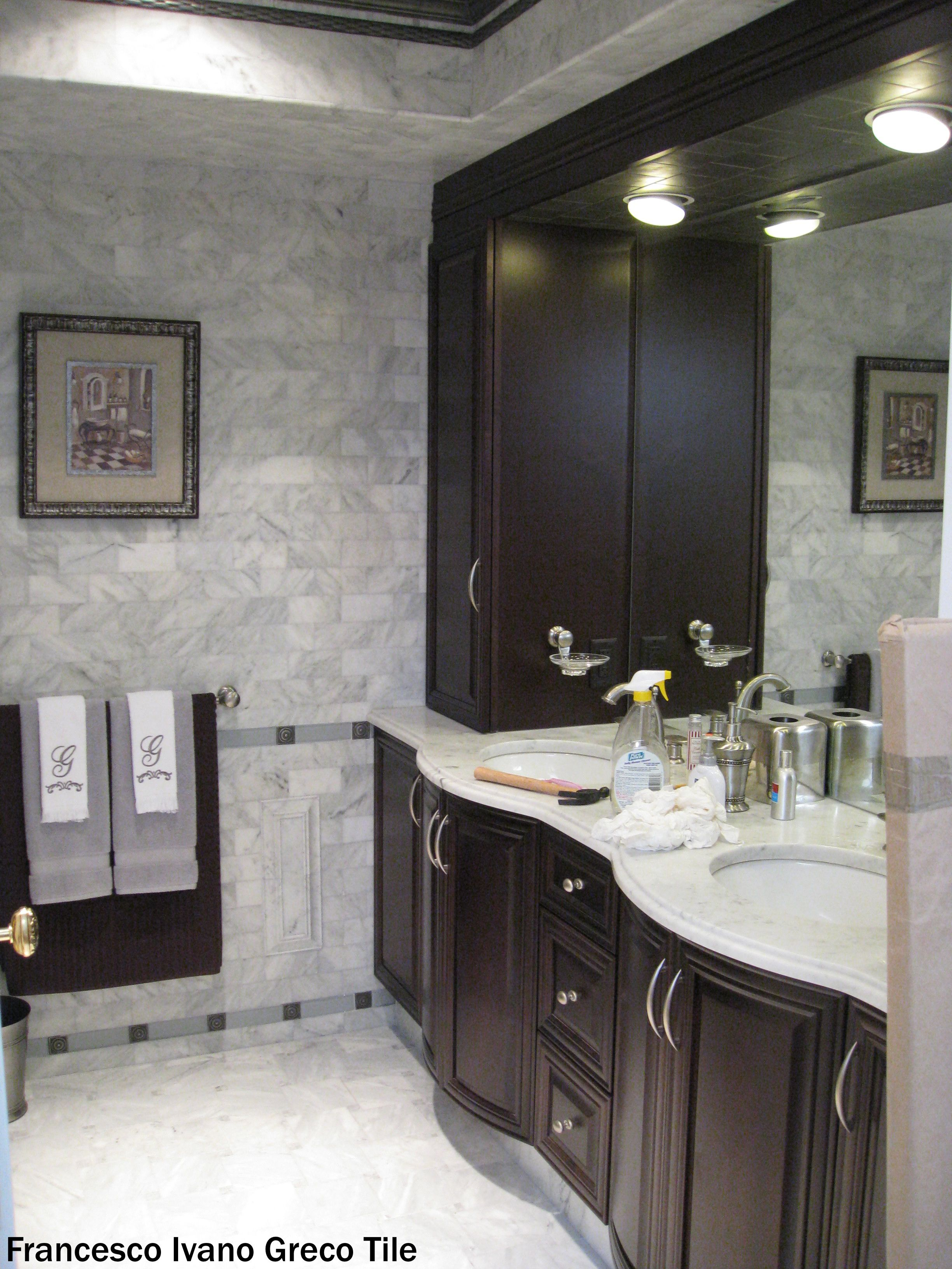 We Were Not Done Cleaning This Bathroom But The Renovation Is Looking Better Than Ever With The Marble Walls Bushed Nickel Hardware An Bathroom Renovation Cost
