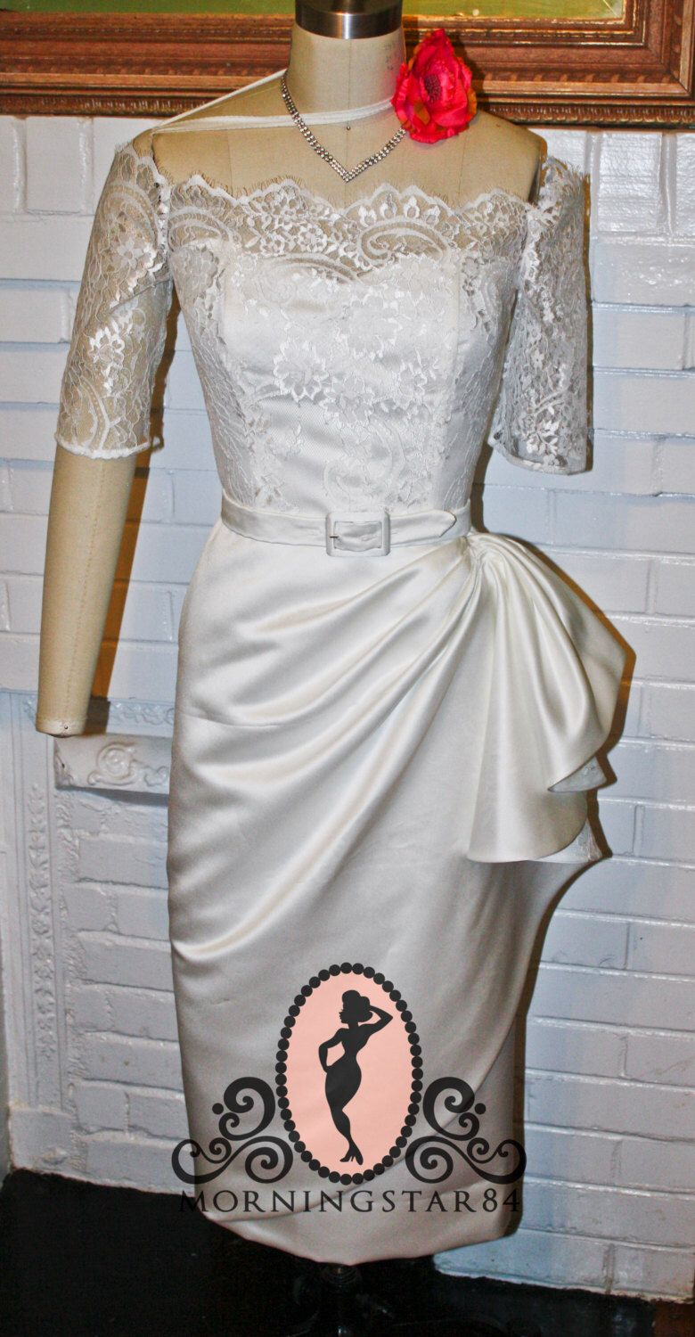 White Short Wedding Dress Tiki Pinup Rockabilly Wiggle Pencil Skirt Custom Made By Morningstar84