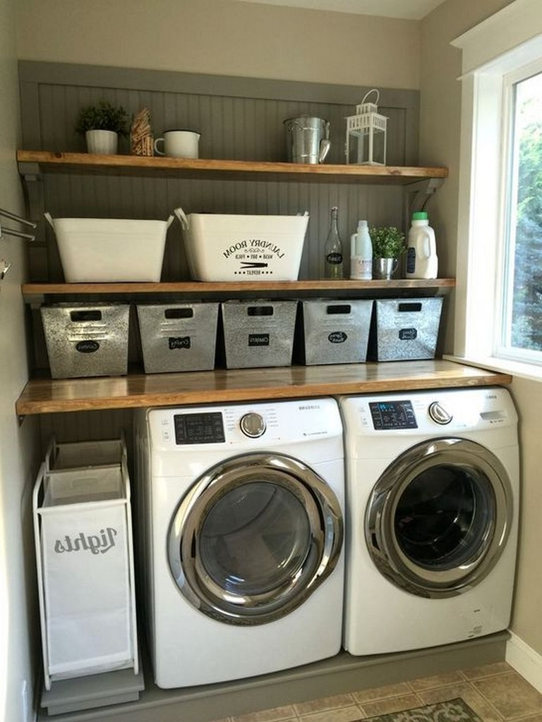 40 Stunning Laundry Room Design With French Country Style Laundryroom Laundryroomdesig Laundry Room Storage Shelves Rustic Laundry Rooms Small Laundry Rooms