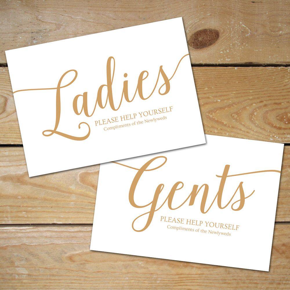 Wedding Bathroom Basket Sign Printable // Caramel Gold Wedding Bathroom Sign  // Gents and Ladies Bathroom Sign, Instant Download